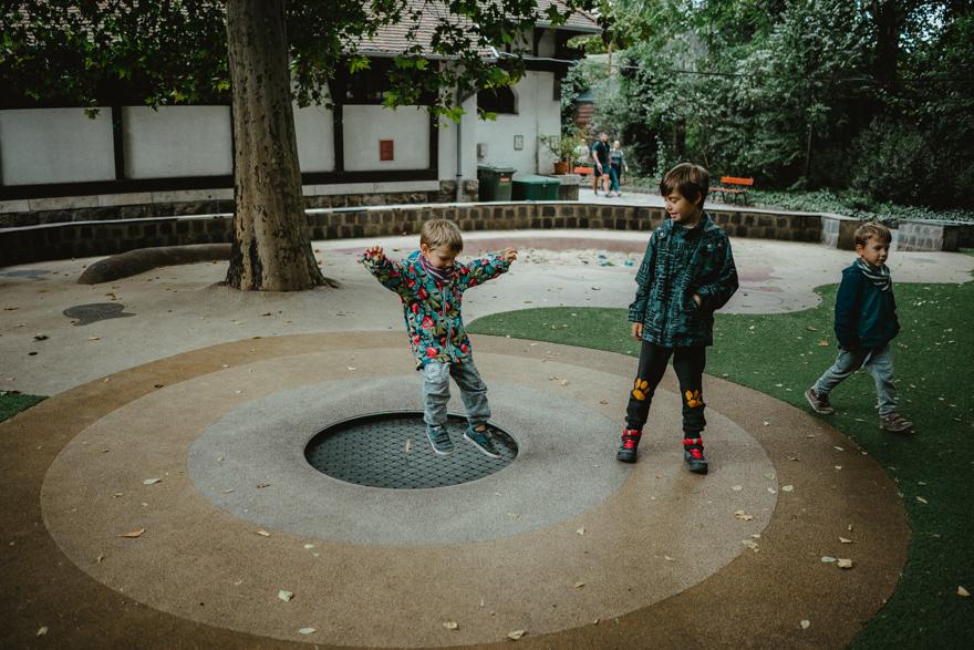 Copii se joacă pe trambulină la Zoo Budapesta Fovarosi Allat es Novenykert în Budapesta
