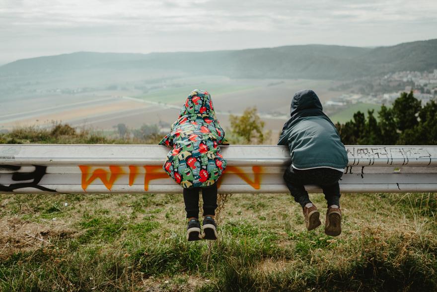 Intre Austria și Slovacia lângă Dunăre gemeni pe o bară se joaca