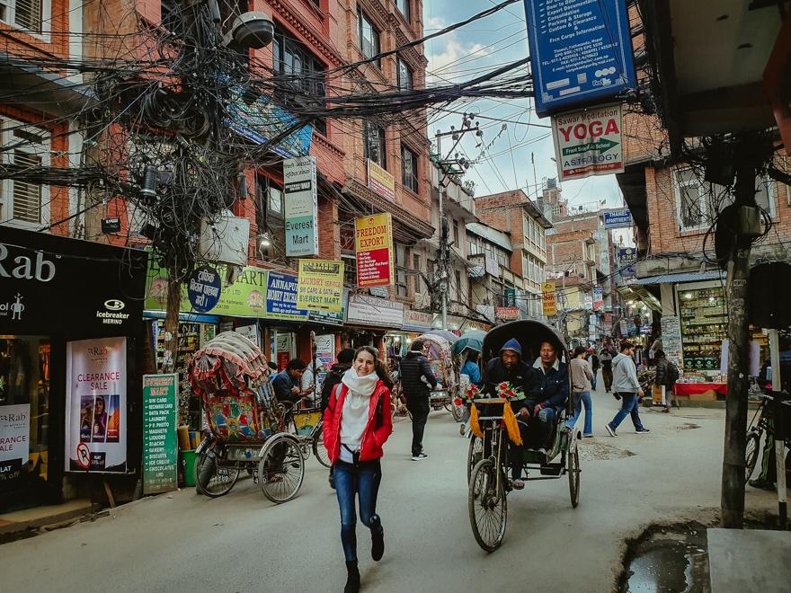 Ricsa pe strazile din Thamel, Kathmandu, Nepal