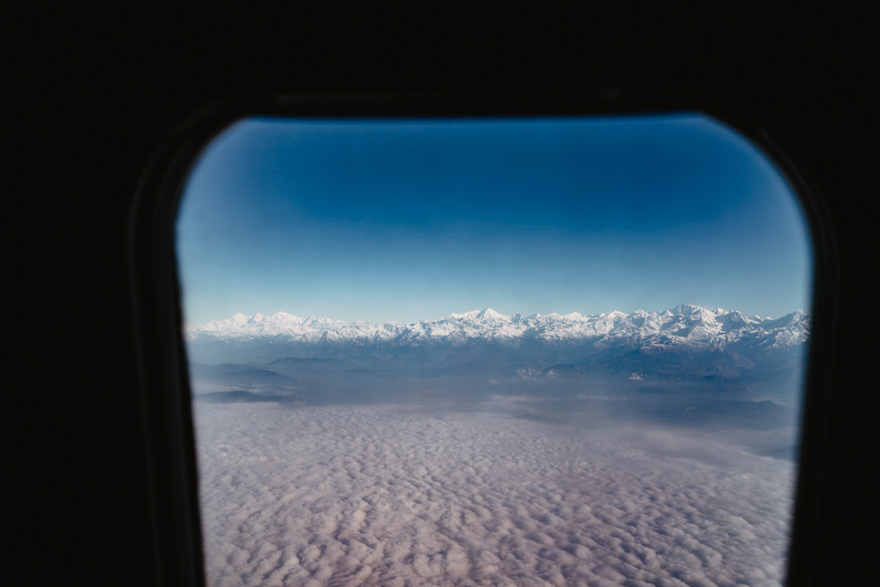 View with clouds from plane over kathmandu