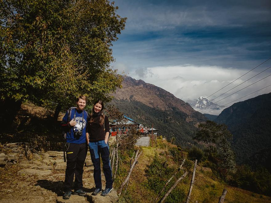 Poza pe trekking in Nepal