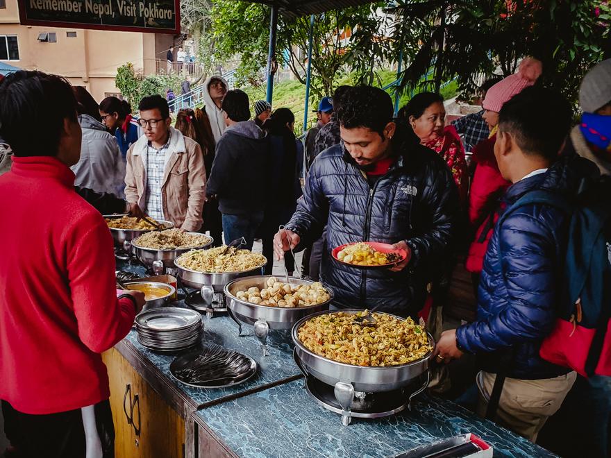 People eating in Nepal
